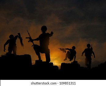 Dramatic vector illustration of soldiers advancing at dawn or dusk, made with a gradient mesh