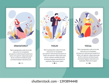 Dramaturgy violin and vocal classes art school online lessons web pages templates vector drama actress musician and singer woman and man acting music playing and singing Internet site mockup