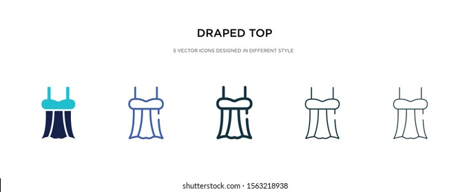draped top icon in different style vector illustration. two colored and black draped top vector icons designed in filled, outline, line and stroke style can be used for web, mobile, ui