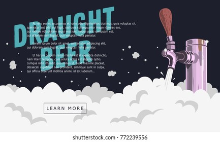 Draught Draft Beer Tap With Foam Web Banner Design For Promotion. Vector Graphic.