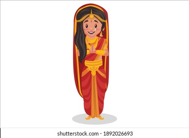 Draupadi is standing with greet hands. Vector graphic illustration. Individually on a white background.
