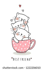 Draw adorable cat sleep in cup of tea pink pastel color.Doodle style.