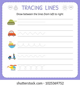 Draw between the lines from left to right. Preschool, kindergarten worksheet for practicing motor skills. Basic writing. Vector illustration