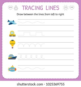 Draw between the lines from left to right. Preschool, kindergarten worksheet for practicing motor skills. Trace line worksheet for kids. Vector illustration