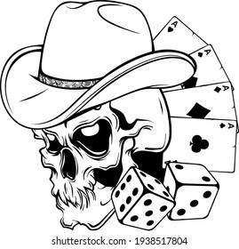 draw in black and white of cowboy skull with poker ace and dice