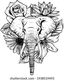 draw in black and white of Vector illustration of head elephant with flower.