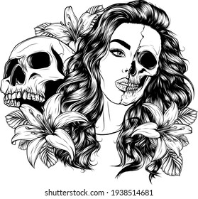 draw in black and white of woman face with skull and flower illustration
