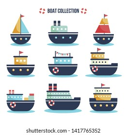 Draw boat vector collection design