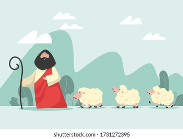 Draw cartoon Jesus and lambs as a vector, able to be used with various media and designs.