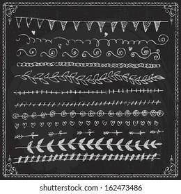 draw chalkboard chalk border frame line ornament doodle illustration drawn fingers drawn vector straight frame set and design element on a blackboard draw chalkboard chalk border frame line ornament d