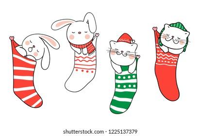 Christmas Cartoon Drawings.Christmas Animals Images Stock Photos Vectors Shutterstock