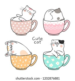 Draw character design cute cat sleeping in cup of tea Isolated on white.Doodle cartoon style.