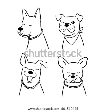 Draw Character Design Outline Cute Dog Stock Vektorgrafik