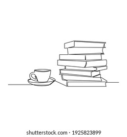 Draw a continuous line of stacks of books with a cup of coffee on top of the library table. Business and education concepts. Vector illustration
