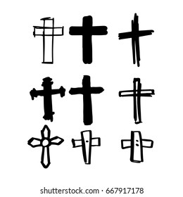 Draw the cross symbol is a cartoon and then create a vector. 4