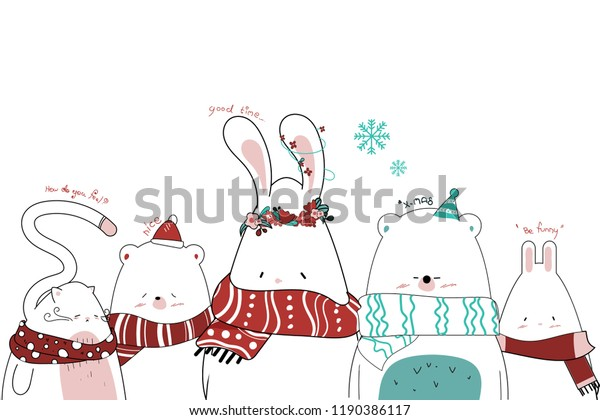 Christmas Day Drawing Images.Draw Cute Animal Christmas Day Stock Vector Royalty Free