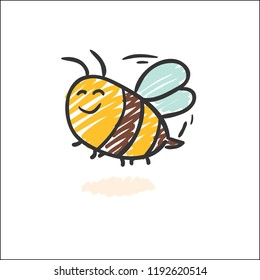 Draw Cute Bee Insect Vectors Stock Vector Royalty Free 1192621630