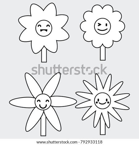 Draw Emoticon Flower Character Vector Stock Vector Royalty Free