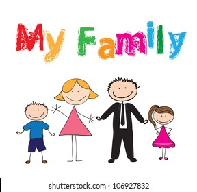 Draw of family with colors, vector illustration