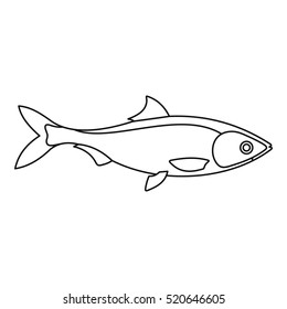Draw fin fish icon. Line illustration of draw fin fish vector icon logo isolated on white background