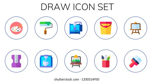draw icon set. 10 flat draw icons.  Simple modern icons about  - painting palette, sharpener, paint roller, d printer, artboard, paint, pencil case, canvas, brush