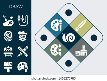 draw icon set. 13 filled draw icons.  Collection Of - Snail, Brush, Color palette, Artboard, Pencil, Fingerprint, Artist, Stationary bike, Skip rope, Paint palette, Paint brush