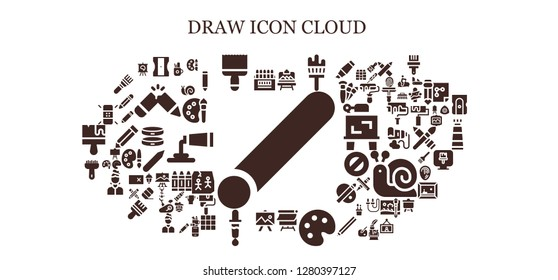 draw icon set. 93 filled draw icons. Simple modern icons about  - Chalk, Colored pencils, Sharpener, Paint brush, Artboard, Painting brush, Canvas, Palette, Drawing, Color picker