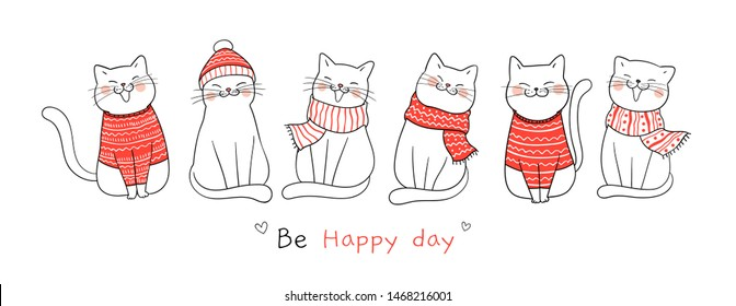 Draw illustration banner cute cat for Christmas day and New year.Doodle cartoon style.