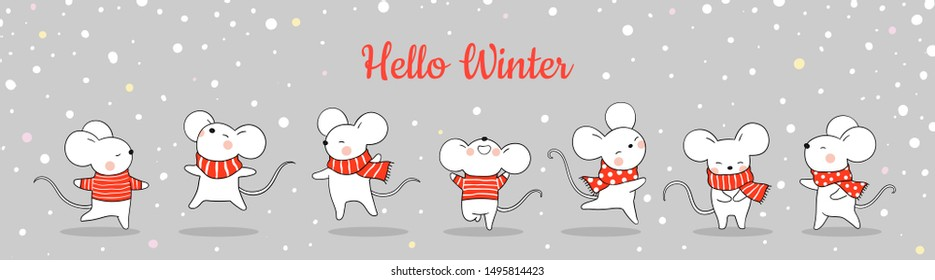 Draw illustration banner cute rat in snow for Christmas day and New year.Winter concept.Doodle cartoon style.