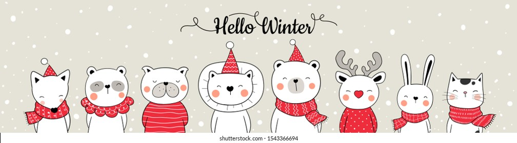 Draw illustration banner web design cute animal in snow for Christmas and new year.Winter concept.Doodle cartoon style.