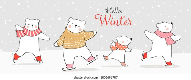 Draw illustration character design banner animal on ice skates in snow.Winter and Christmas concept.