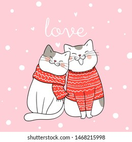 Draw illustration couple love of cat sitting in snow for Christmas day and New year.Winter concept.Doodle cartoon style.