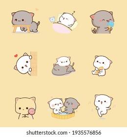Draw illustration couple love of cat