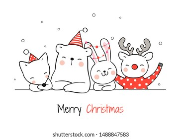 Draw illustration cute animal for Christmas day and New year.Isolated on white.Doodle cartoon style.