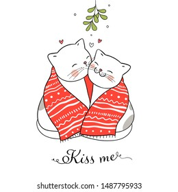 Draw illustration cute cat kissing under a mistletoe Christmas day and New year.Isolated on white.Doodle cartoon style.