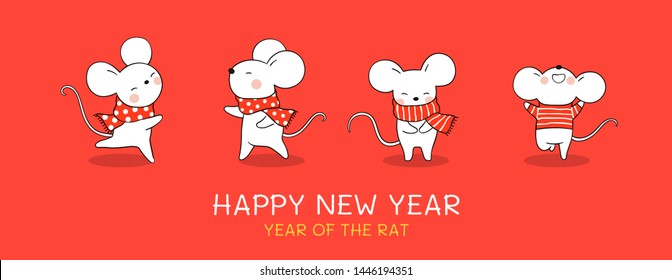 Draw  illustration cute rat with beauty scarf for Christmas day and New year on red background.Banner for web.Isolated on white.Doodle cartoon style.