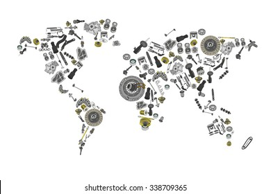 Draw a map of the world made up many spare auto parts for shop aftermarket oem. Isolated on white background.