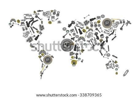 Draw Map World Made Many Spare Stock Vector (Royalty Free) 338709365 ...