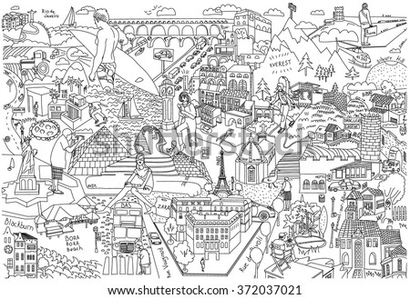 Draw Maps Cities Doodles Maps Coloring Stock-Vrgrafik ... Coloring Map on