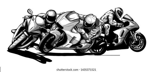draw motorcycles racers biker vector illustration design