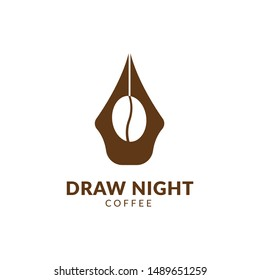 draw night coffee pen logo vector,coffee pen creative draw writing logo vector download