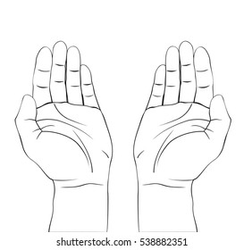Draw of open hands prayer. Isolated vector illustration