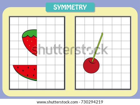 Draw Other Half Each Symmetrical Pictures Stock Vector (Royalty Free ...