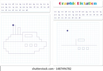 Draw a picture on the arrows. Cartoon graphic steamboat. Worksheet for kids