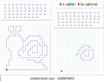 Draw a picture on the arrows. Cartoon graphic snail. Worksheet for kids