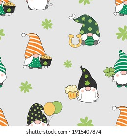 Draw seamless pattern background cute gnome for St Patrick day. Doodle style.