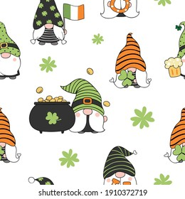 Draw seamless pattern background gnome for St Patrick day. Doodle style.