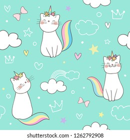 22a36b73e32 Draw seamless pattern background kitty cat unicorn on sweet pastel.Doodle  cartoon style.