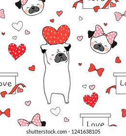 Draw seamless pattern background pug dog with red heart on white for valentine day.Doodle cartoon style.