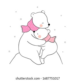 Draw vector banner mom polar bear and baby hug with love.For mother'day.Doodle cartoon style.
